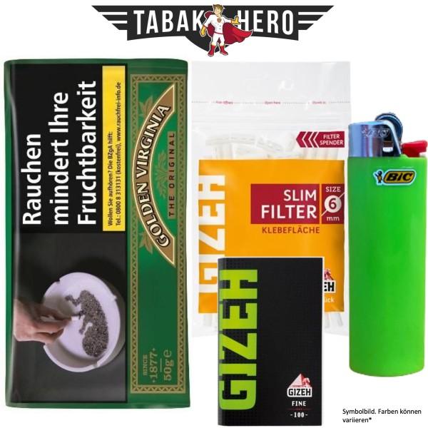 Drehset Golden Virginia 50g + Gizeh 6mm Filter & Gizeh Fine Papier + BIC Feuerzeug