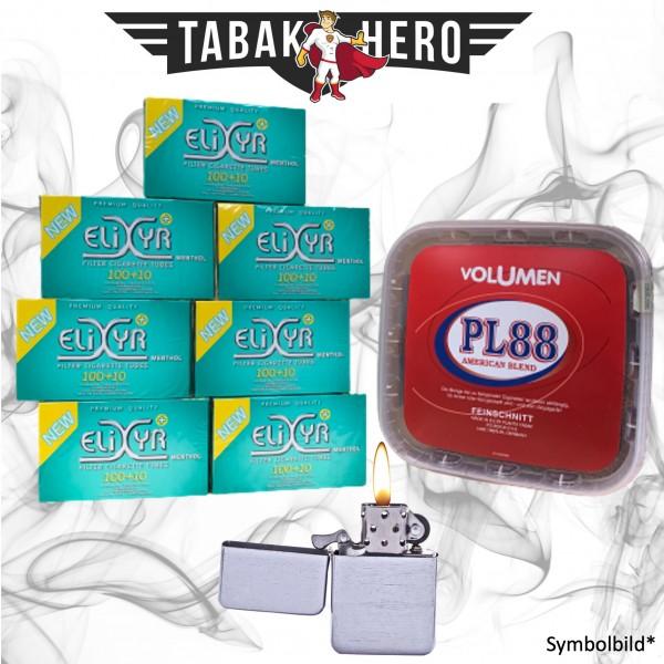 365g PL88 Red Tabak, Elixyr Menthol-Filterhülsen + mehr, Stopftabak Volumentabak