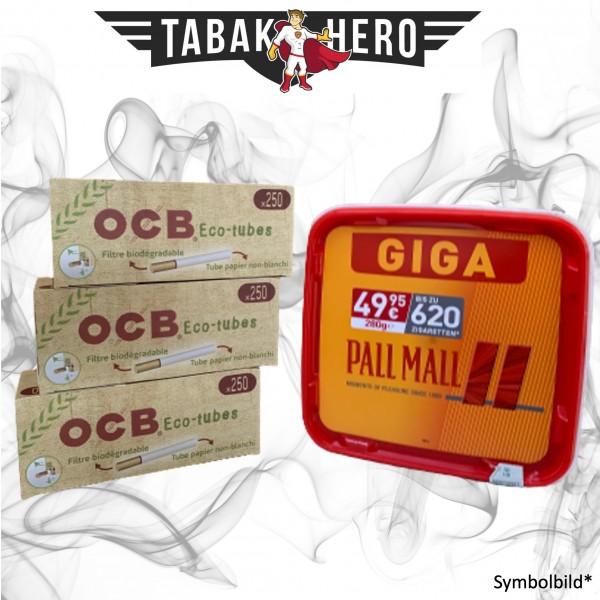 260g Pall Mall Red Tabak GIGA, 750 OCB Organic Hülsen, Stopftabak Volumentabak
