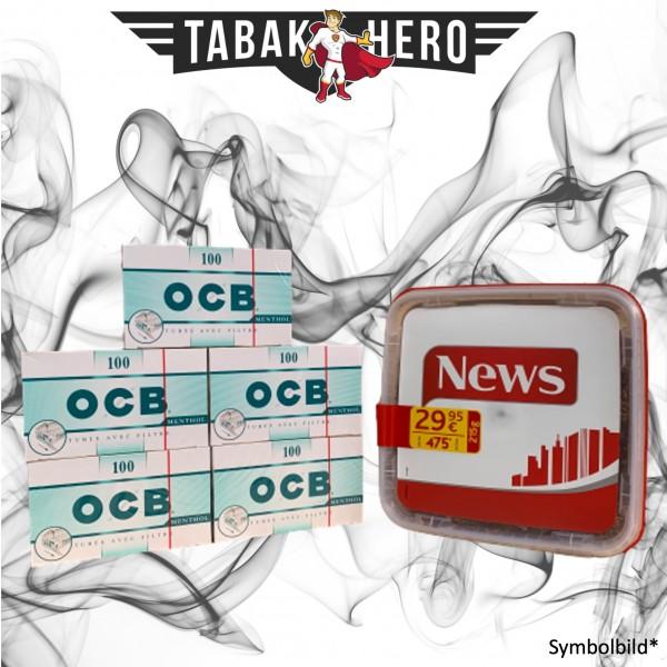 250g News Red Tabak, 500 OCB Menthol-Filterhülsen (Stopftabak Volumentabak)