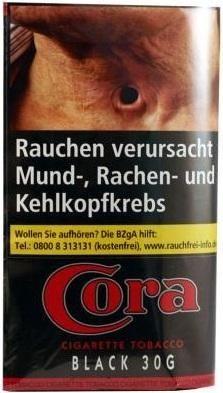 10x Cora Black (Zware) Tabak 30g Pouch (Stopftabak / Volumentabak)