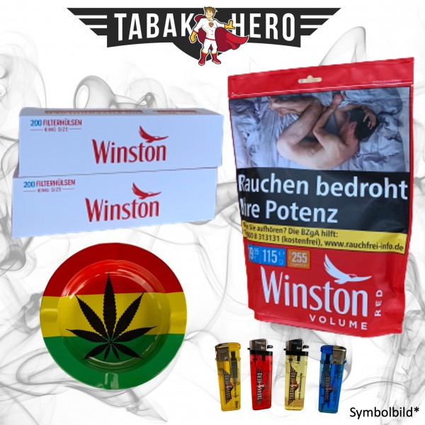 115g Winston Red Zip Beutel Tabak + Hülsen + Zubehör, Stopftabak, Cannabis-AB