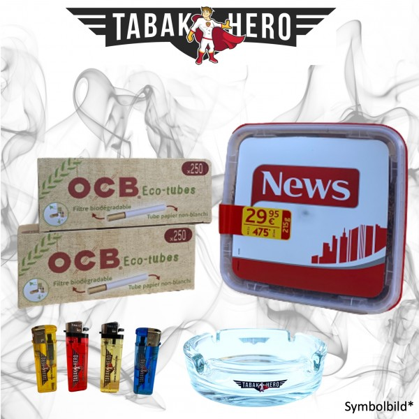 215g News Red Tabak, 500 OCB Organic Hülsen, Zubehör Stopftabak Volumentabak