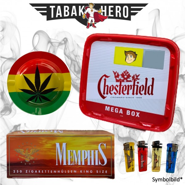 155g Chesterfield Red Tabak, 250 Hülsen, Cannabis-Ascher Stopftabak Volumentabak