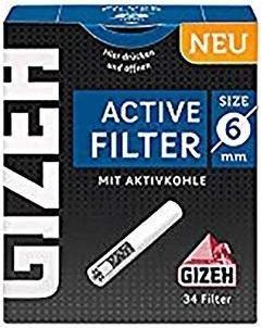 10 x 34 Stück Gizeh Black Active Slim Filter mit Aktivkohle