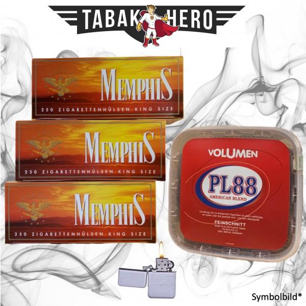 400g PL88 Red Tabak , 750 Memphis (OCB) Hülsen, Benzinfeuerzeug (Stopftabak)