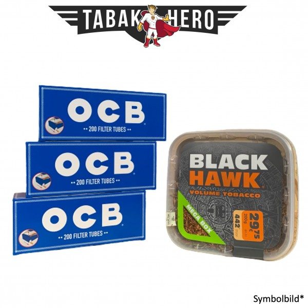 230g Black Hawk Tabak Mega Box, 600 OCB Hanf Hülsen (Stopftabak Volumentabak)