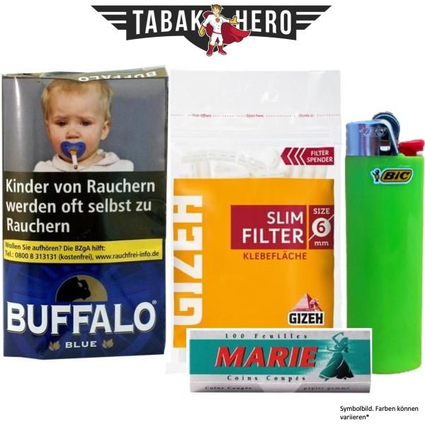 Drehset Buffalo Blue Halfzware 40g + Gizeh 6mm Filter & Marie 100 Blatt Papier + BIC Feuerzeug