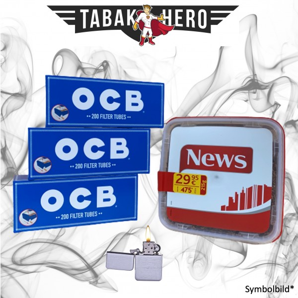250g News Red Tabak, 600 OCB Hanf Hülsen, Feuerzeug (Stopftabak Volumentabak)