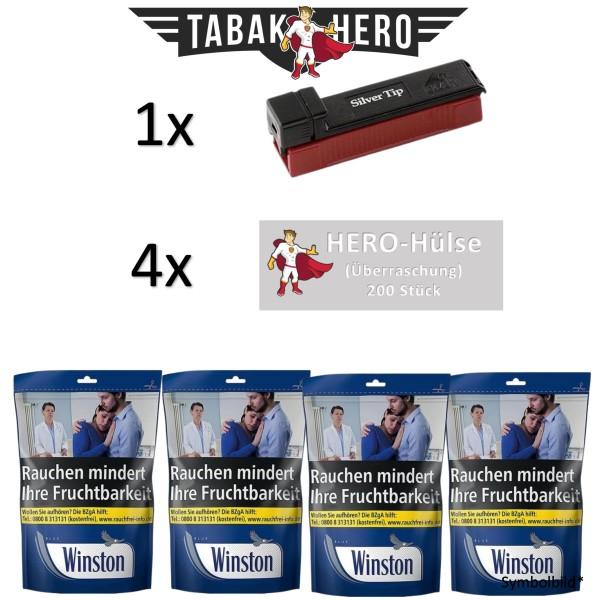 AKTION! 4x Winston Blue Beutel 125g + 5x Hero Hülsen 200 + Gizeh Silver Tip Boy Stopfer