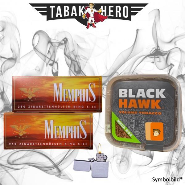 230g Black Hawk Tabak Box, 500 Hülsen, Feuerzeug Stopftabak Volumentabak