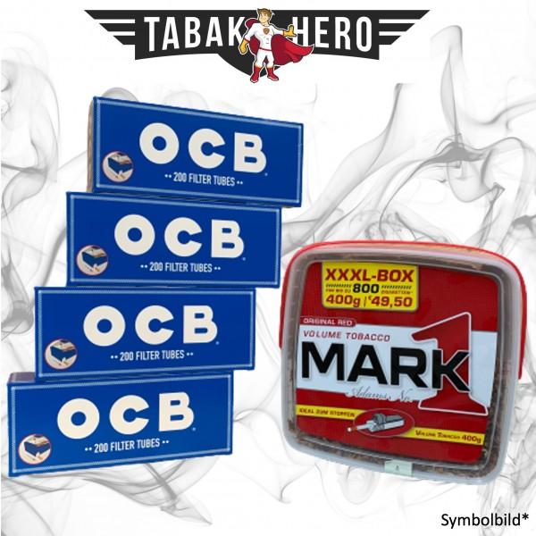 400g Mark Adams No 1 Tabak, 800 OCB Hanf Hülsen, Stopftabak Volumentabak