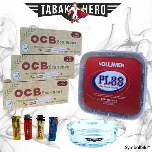 400g PL88 Red Tabak, 750 OCB Organic Hülsen, Zubehör Stopftabak Volumentabak
