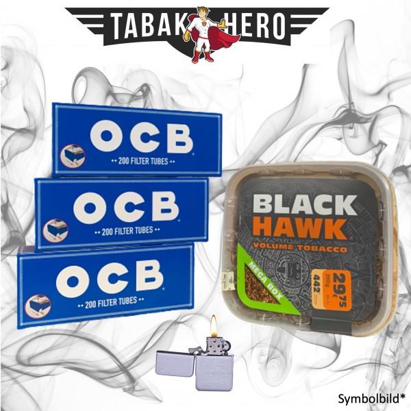 230g Black Hawk Tabak , 600 OCB Hanf Hülsen, Feuerzeug Stopftabak Volumentabak