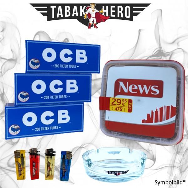 215g News Red Tabak, 600 OCB Hanf Hülsen, Zubehör Stopftabak Volumentabak