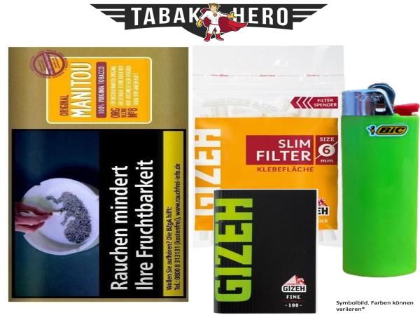 Drehset Manitou organic Gold 30g + Gizeh 6mm Filter & Gizeh Fine Papier + BIC Feuerzeug
