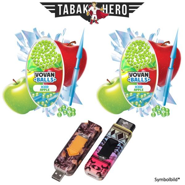 2x Vovan Aromakugeln Iced Apple + 1x USB Spiral Feuerzeug Geschenkt