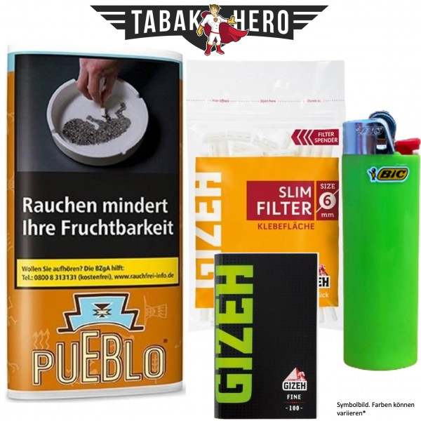 Drehset Pueblo Burley Blend + Gizeh 6mm Filter & Gizeh Fine Papier + BIC Feuerzeug