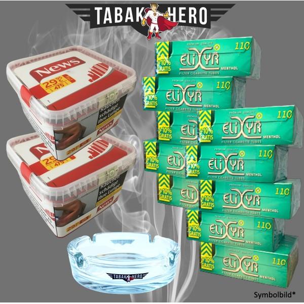 2 x News Red Tabak 500g + 10 x 110 ELIXYR + Zubehör (Stopftabak / Volumentabak)