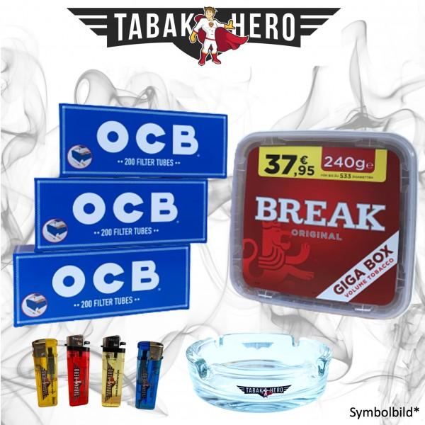 240g Break Original Tabak, 600 OCB Hanf Hülsen, Zubehör Stopftabak Volumentabak
