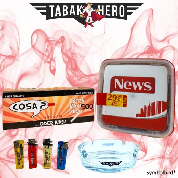 215g News Red Tabak, 500 Cosa Hülsen, Zubehör Stopftabak Volumentabak