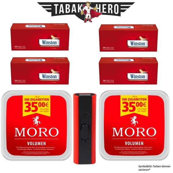 2x Moro Volumen Tabak 225g + 4x 200 Winston Hülsen+ 1x Spiralfeuerzeug