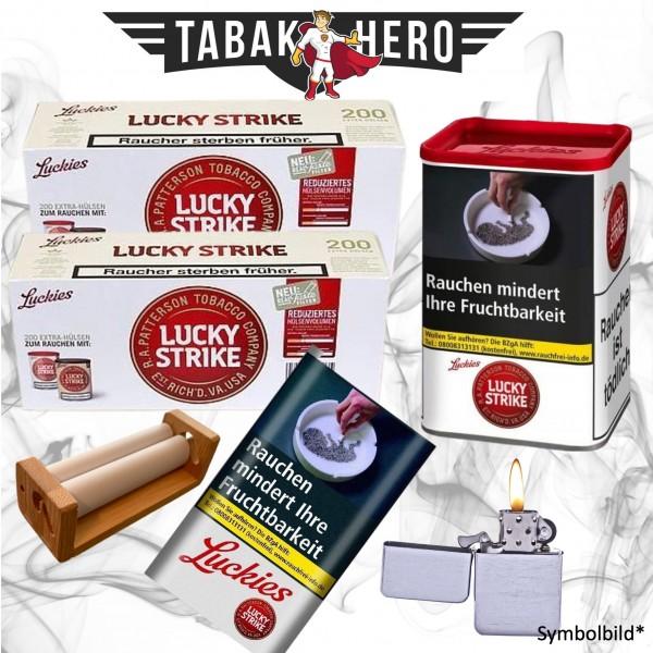 Lucky Strike Red XL Dose Tabak 60g Dose + Hülsen + Pouch im Set