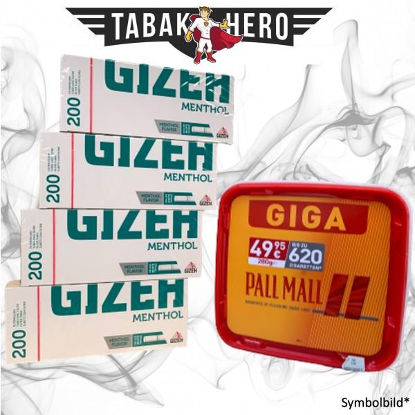 260g Pall Mall Red Tabak, Gizeh Menthol-Filterhülsen Stopftabak Volumentabak
