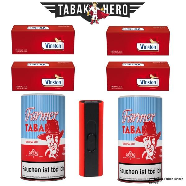 2x Farmer Tabak Original Rot 160g + 4x 200 Winston Hülsen+ 1x Spiralfeuerzeug