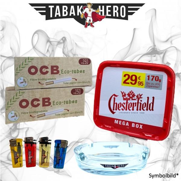 155g Chesterfield Red Tabak + 500 OCB Organic Hülsen, Stopftabak, Volumentabak