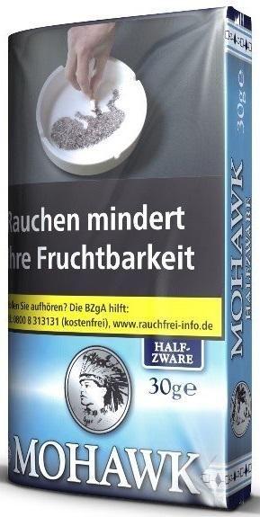 Mohawk Halfzware (Blau) Tabak 30g Pouch (Drehtabak / Feinschnitt)