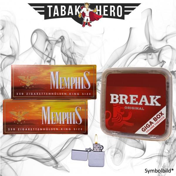 230g Break Original Tabak, 500 Hülsen, Feuerzeug (Stopftabak Volumentabak)