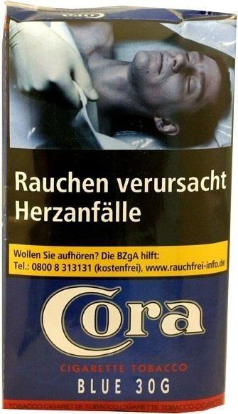 10x Cora Blue (Halfzware) Tabak 30g Pouch (Stopftabak / Volumentabak)