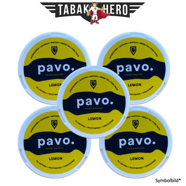 5x Pavo. Lemon Kautabak herbal pouches Nikotinfrei 12g