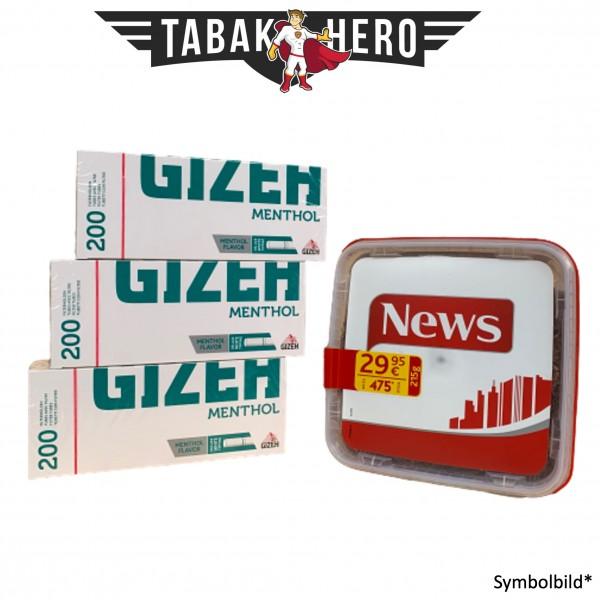 250g News Red Tabak, 600 Gizeh Menthol-Filterhülsen (Stopftabak Volumentabak)