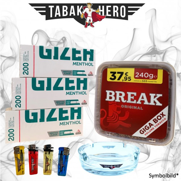 230g Break Original Tabak, Gizeh Menthol-Filterhülsen Stopftabak Volumentabak