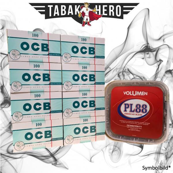 400g PL88 Red Tabak , 800 OCB Menthol-Filterhülsen (Stopftabak Volumentabak)