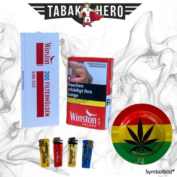 96g Winston Red Tin-L Tabak Dose + Hülsen + Zubehör, Stopftabak, Cannabis-AB