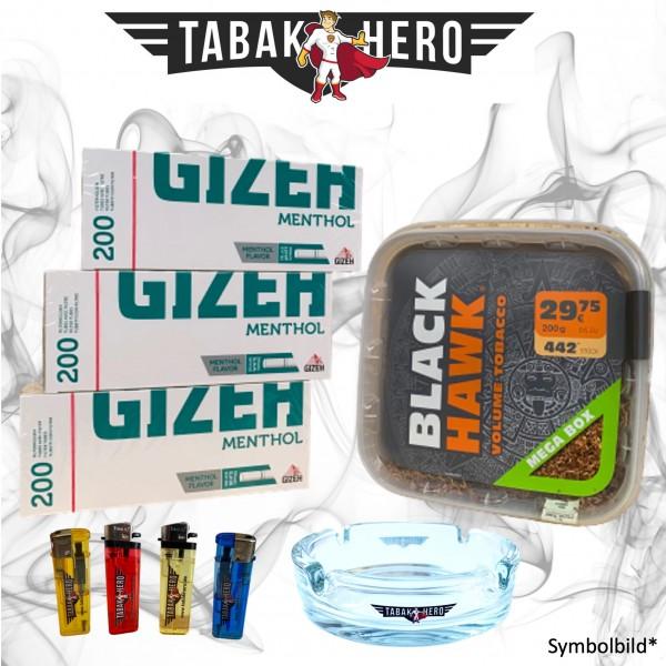 230g Black Hawk Tabak Box, Gizeh Menthol-Filterhülsen Stopftabak Volumentabak