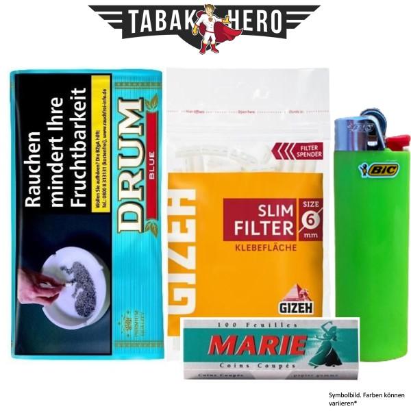 Drehset Drum Hellblau 30g + Gizeh 6mm Filter & Marie 100 Blatt Papier + BIC Feuerzeug