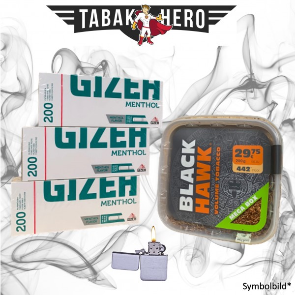 230g Black Hawk Tabak, Gizeh Menthol-Filterhülsen + mehr, Stopftabak Volumentabak