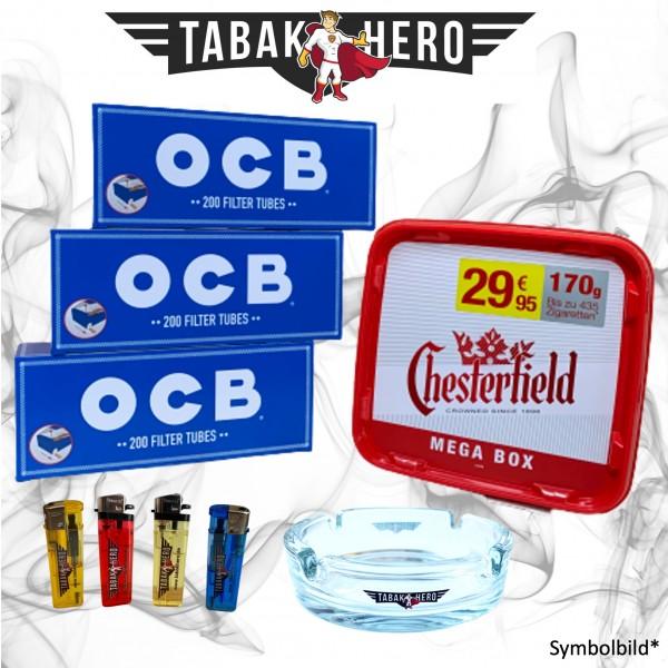 155g Chesterfield Red Tabak + 600 OCB Hanf Hülsen (Stopftabak / Volumentabak)