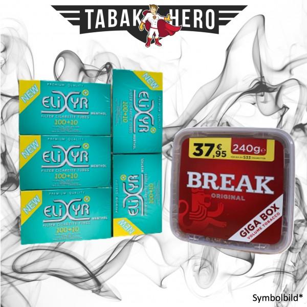 240g Break Original Tabak, Elixyr Menthol-Filterhülsen Stopftabak Volumentabak