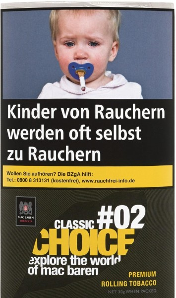 Mac Baren Choice Classic No.2 Tabak 30g Pouch (Drehtabak / Feinschnitt)