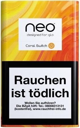 neo Sticks Coral Switch für Glo Tabakerhitzer - Tabaksticks (Stange / 10x20 Stück)