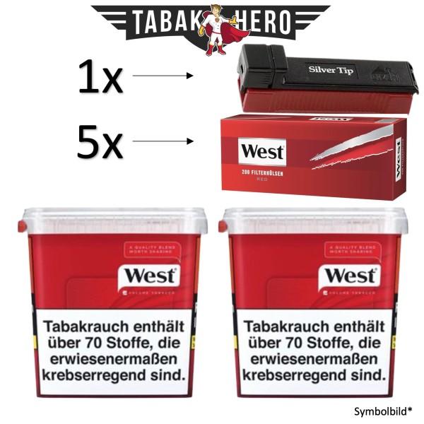 520g West Red Eimer + 1000 West Red Hülsen + GIZEH SILVER STOPFER ! AKTION !