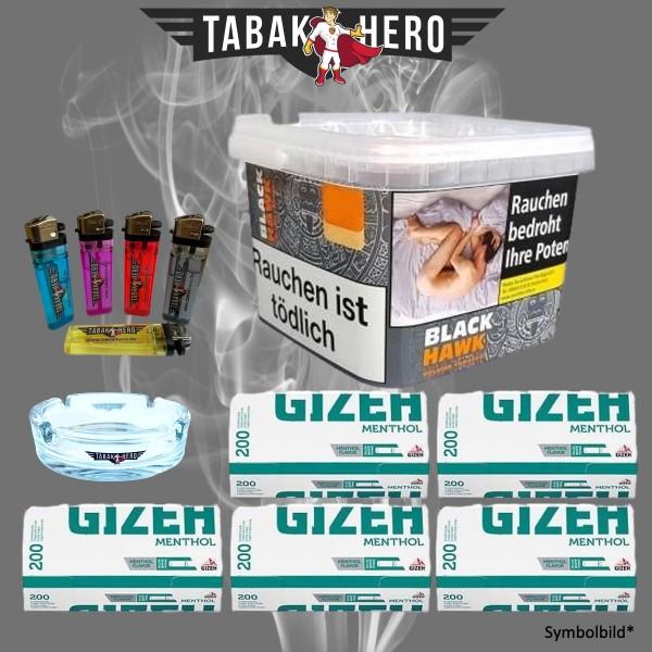 Black Hawk Tabak 230g + GIZEH Menthol-Filterhülsen, Stopftabak, Volumentabak