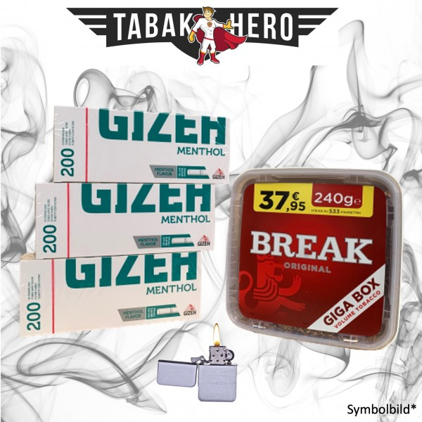 240g Break Original Tabak,600 Gizeh Menthol-Filterhülsen Stopftabak Volumentabak