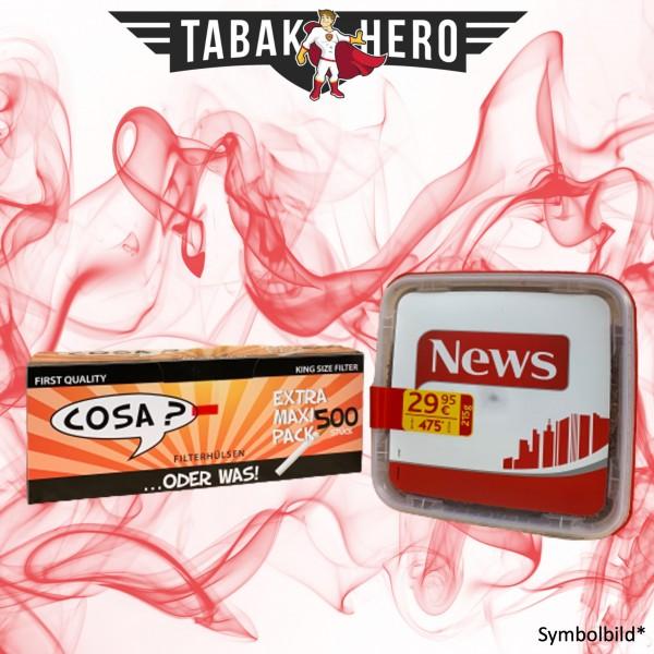 250g News Red Tabak, 500 Cosa Hülsen (Stopftabak Volumentabak)