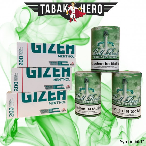 480g Bell Rock Tabak Green (wie Big Ben), GIZEH Menthol-Filterhülsen Stopftabak